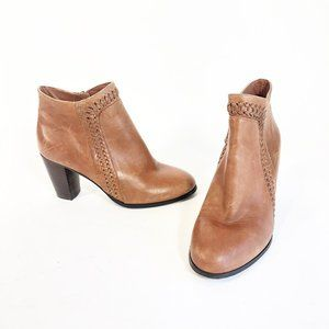 Mia Leather Fab Woven Trim Ankle Booties 7M